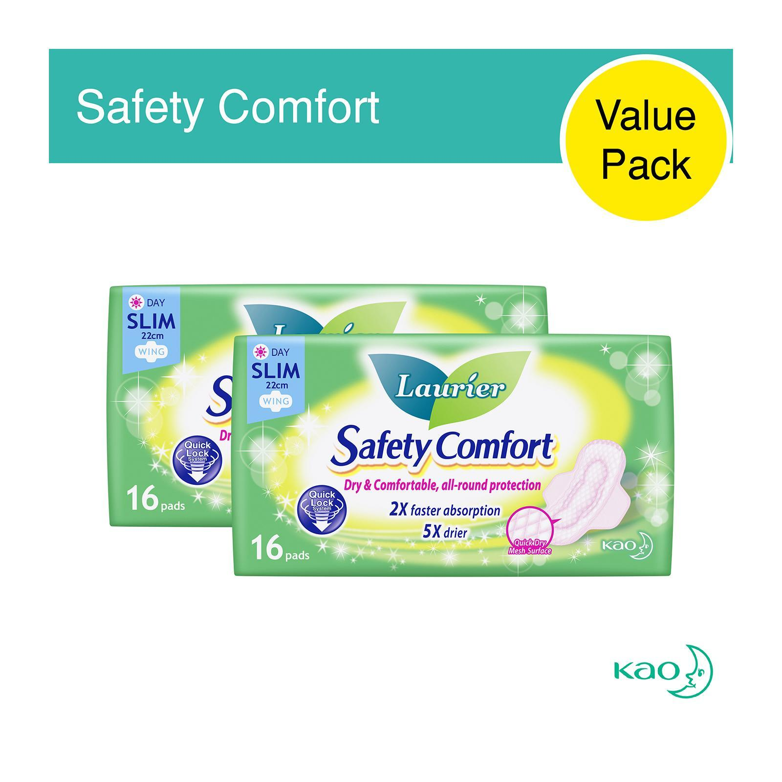 Laurier Safety Comfort Slim Wing Sanitary Pads 22.5cm