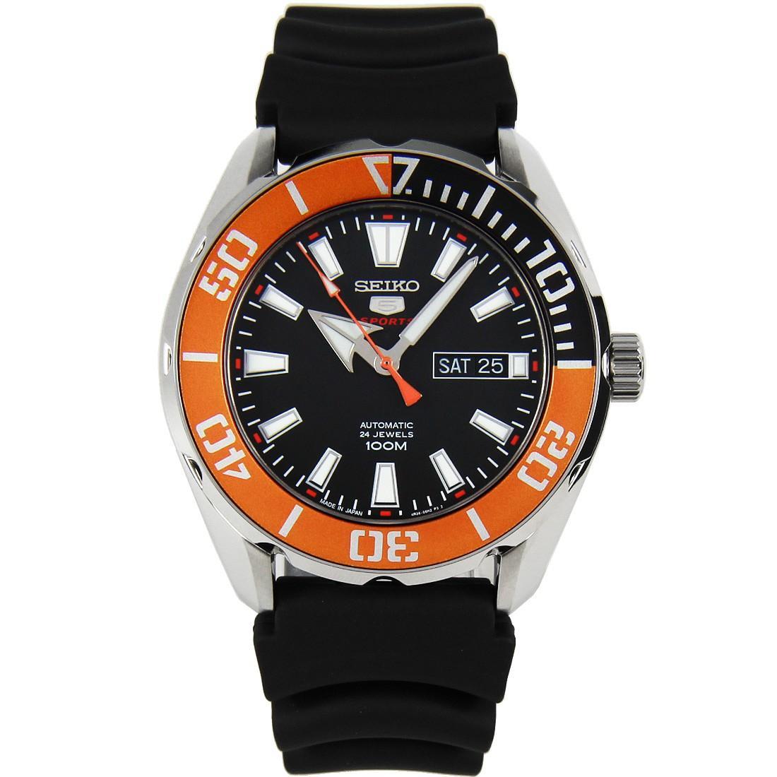 Seiko 5 SRPC59J1 SRPC59J SRPC59 Sports Automatic Orange Bezel Black Rubber 100M Men's Watch