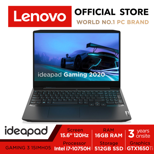 【Same Day Delivery】Lenovo Gaming 3i | 81Y4001VSB | 15.6inch FHD 120Hz | i7-10750H | 16GB RAM | 512GB SSD | GTX1650TI | 3Y warranty