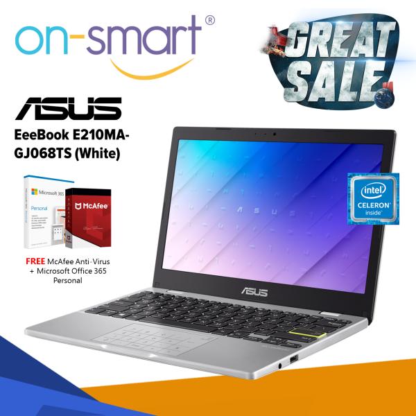 ASUS EeeBook E210MA-GJ068TS | Intel Celeron N4020 | 4GB RAM | 128GB eMMC | Win 10 Home | 1 Yr Warranty | Student Casual Home New Laptop  Computer