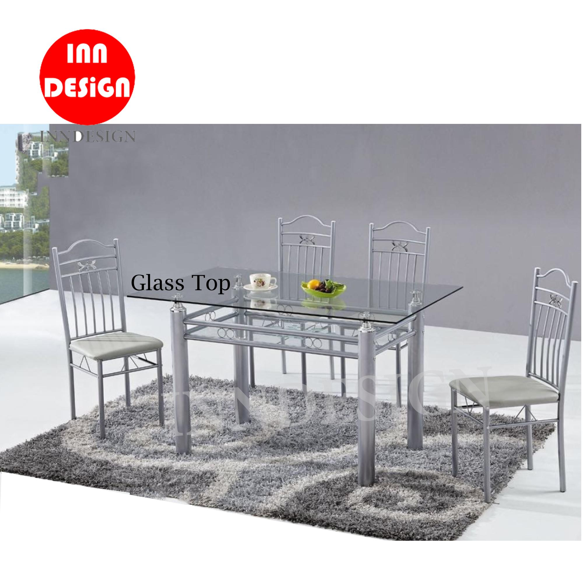 Nisha 1+4 Glass Top Dining Set (Free Delivery and Installation) (Deliver within 3 to 5 working days)