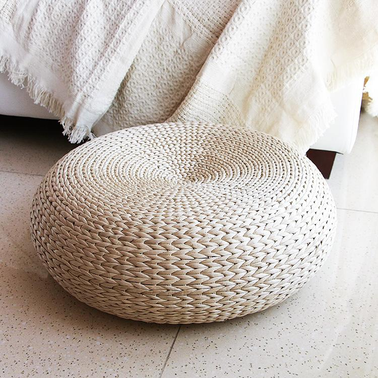 Scandinavian-Futon Padded throw pillow Tatami Floor Stool Straw Japanese Banana Leaf round Mat Hand-woven Terrace/Patio