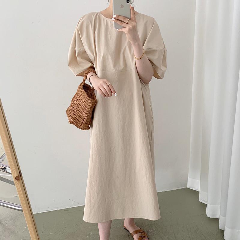 Hàn Quốc Chic Chủ Nghĩa Tối Giản Thích Hợp Bạc Hà Trắng Cổ Tròn Dáng Suông Rộng Thông Dụng Tay Bồng Đầm Váy Dài