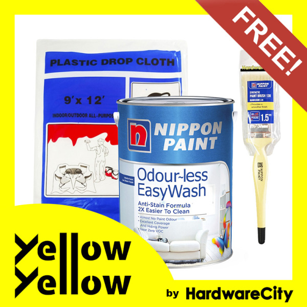 [FREE PAINT SET] Nippon Paint Odour-less EasyWash (WHITE ONLY) 1 Litre Package - ODOURLESS EASY WASH SET