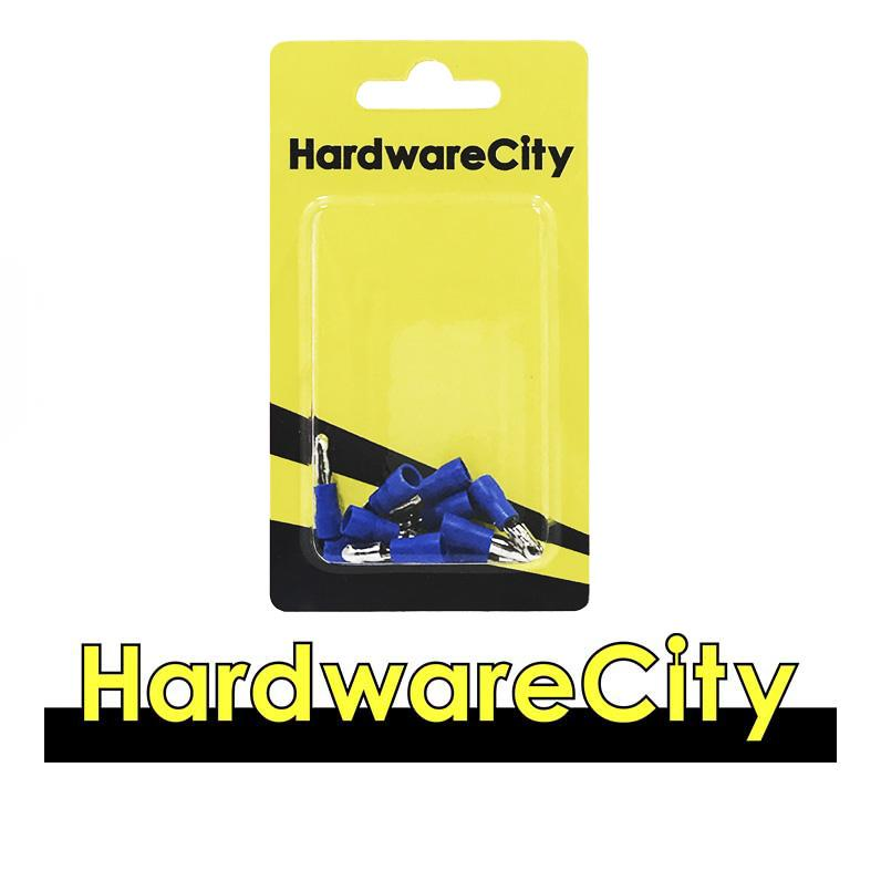 HardwareCity Insulated Male Crimp, Button Connectors, Blue (16AWG - 14AWG), 10PC/Pack