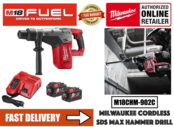 M18 FUEL M18CHM-902C 40mm SDS-Max Drilling and Breaking Hammer Drill / Chipping Hammer Breaker