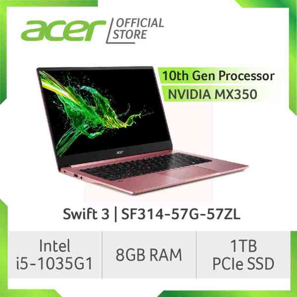 Acer Swift 3 SF314-57G Thin and light laptop with Intel i5-1035G1 processor and NVIDIA MX350 Graphics