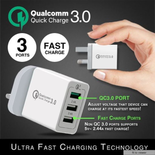 Ac 100-240v Power Adapter Usb Universal Fast Charger With 3 Usb Ports Qc3.0 Fireproof Pc High Temperature Resistant Hot Selling.