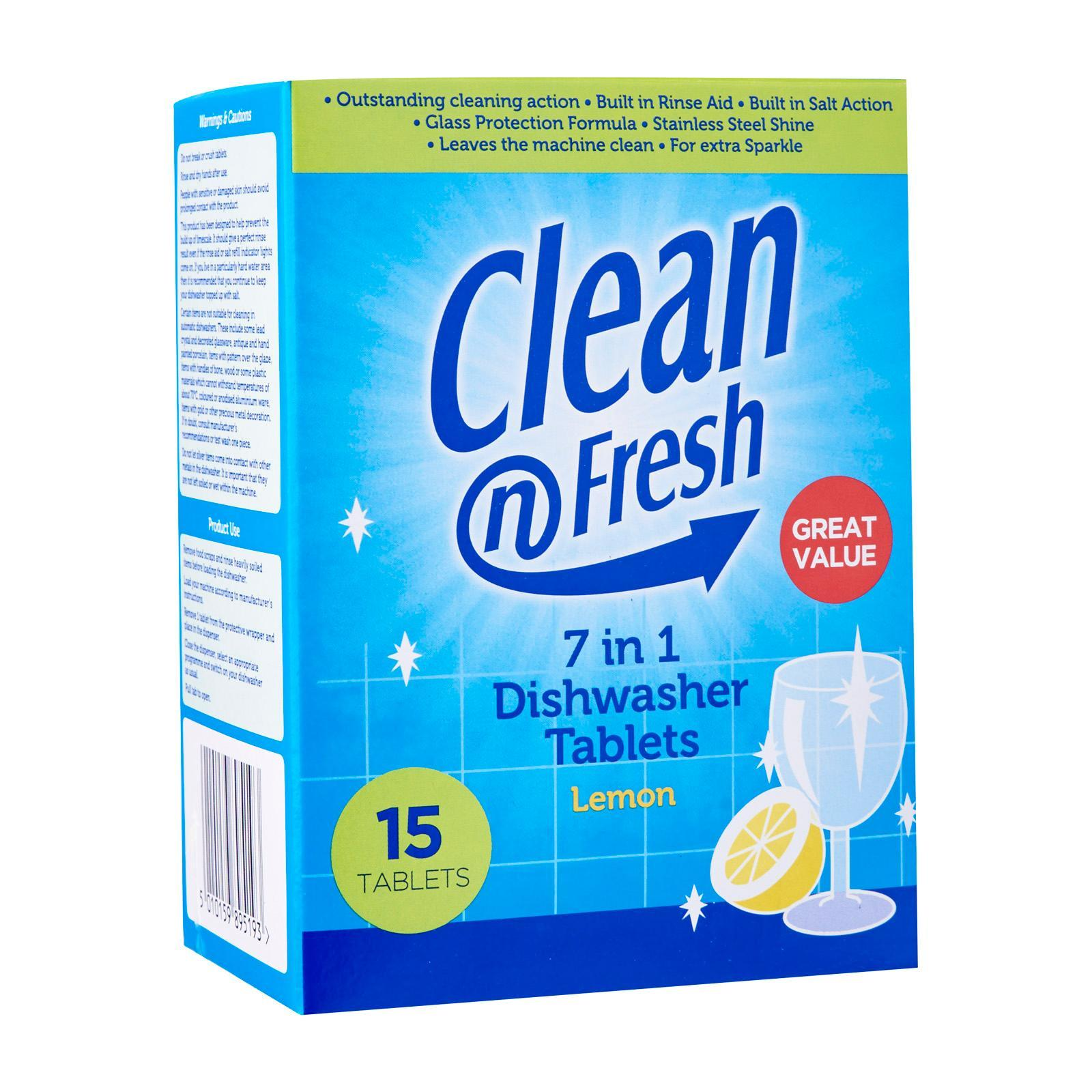 Clean 'N Fresh 7 In 1 Lemon Dishwasher Tablets - 15 tabs
