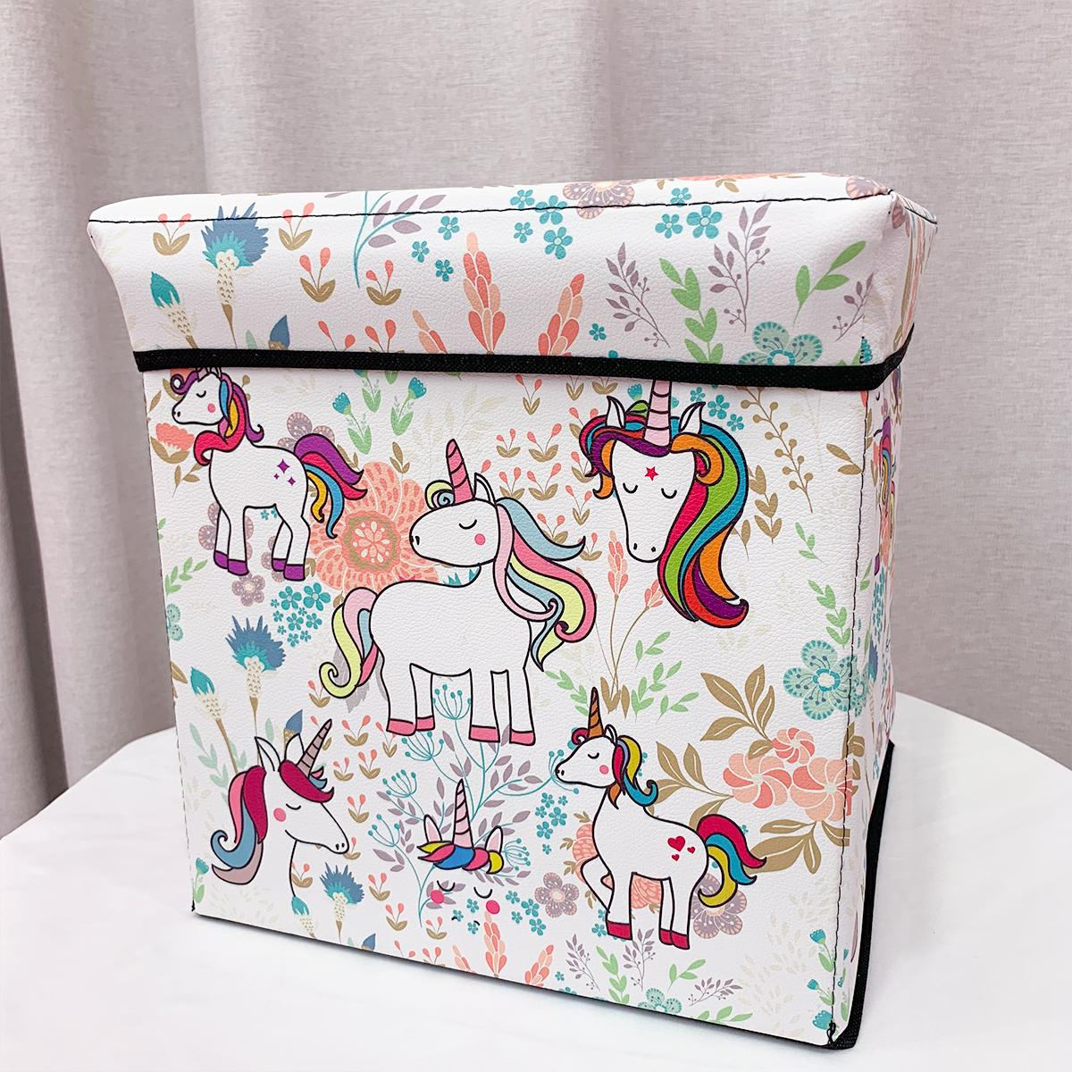 South Korea Cute Fabric Unicorn Storage Chair Multi-functional Household Folding Stool Creative Foot Bench