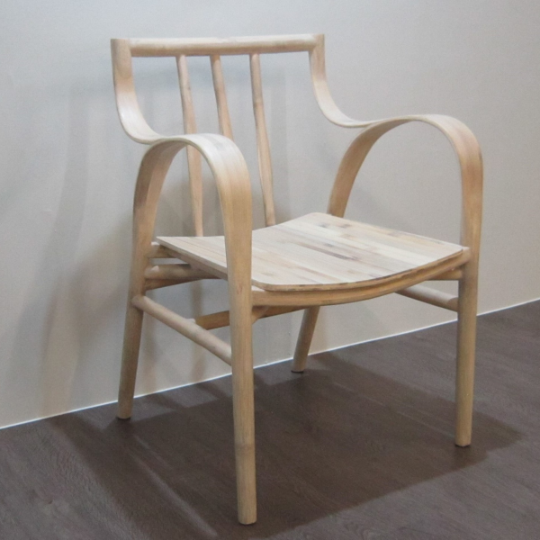 CREEP Dining Chair Contemporary Designer Handcrafted Bamboo with Armrest (Maple Colour)