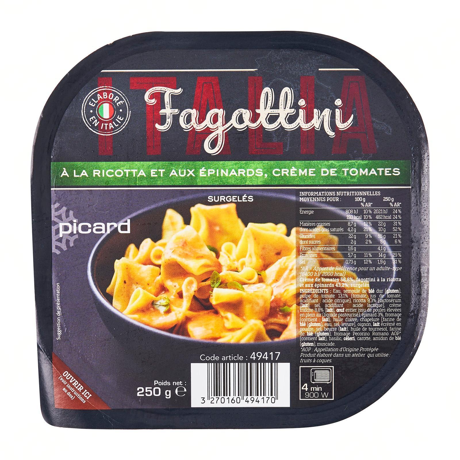 Picard Fagottini Pasta a la Ricotta Spinach and Tomato Cream - Frozen
