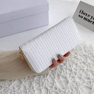 PU Leather Long Wallet for Women New 2021 - Solid Color Straw Woven Coin Purse, Zipper Clutch Bag Card Holder thumbnail