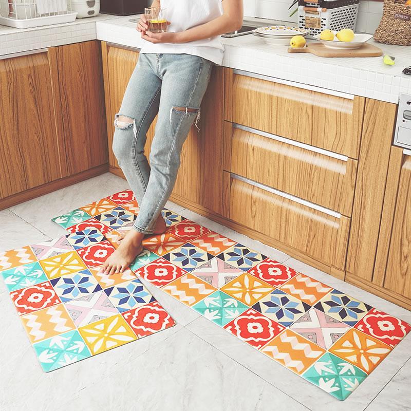 Strip Kitchen Floor Mat Household Anti-slip Oil Resistant Waterproof Mat Doormat Door PVC Floor Mat Coaster Rug