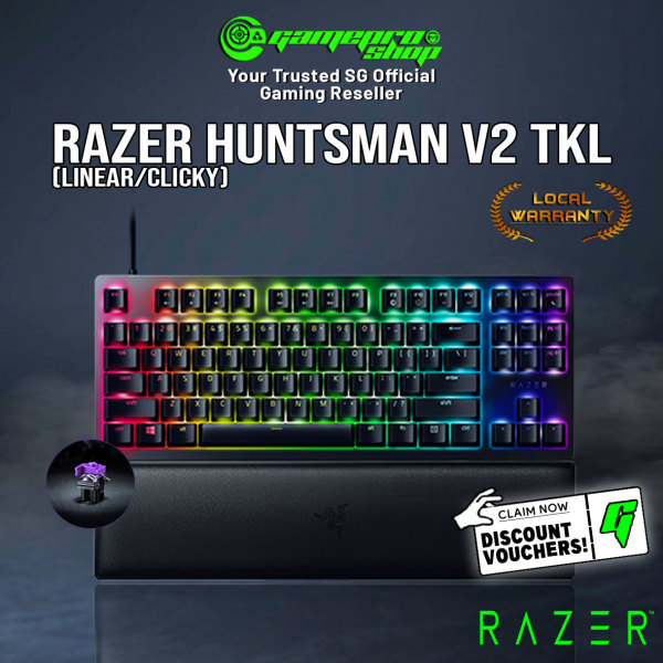 New Razer Huntsman v2 TKL Tenkeyless Optical RGB Gaming Keyboard Gen 2 Optical Switch Available in Tactile / Linear (2Y) Singapore