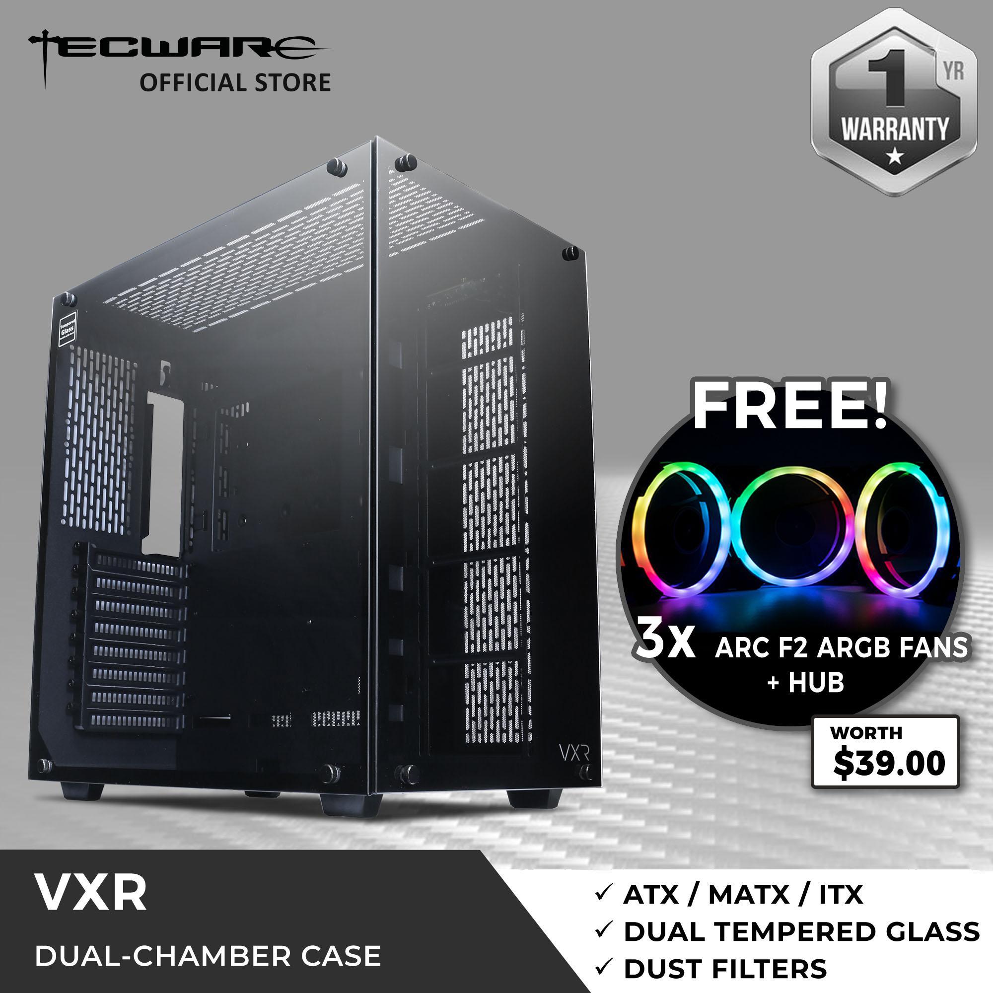 Buy Tecware VXR Dual Chamber TG Case + FREE 3 x ARC F2 ARGB Fans + Hub  Singapore
