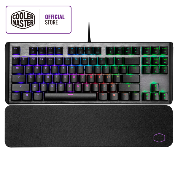 Cooler Master CK530 V2 Mechanical Keyboard, RGB Illumination, Floating Keys, Brushed Aluminum Design, Soft Wrist Rest, On-the-fly Controls, Software Customization (TKL Layout / 87 Keys) Singapore