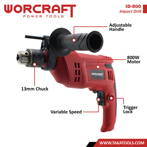 Worcraft Electric Impact Hammer Drill 800watt