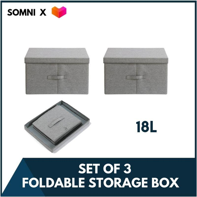 SOMNI Set of 3 Grey Fabric Foldable Storage Box Wardrobe Organizer for Home Office