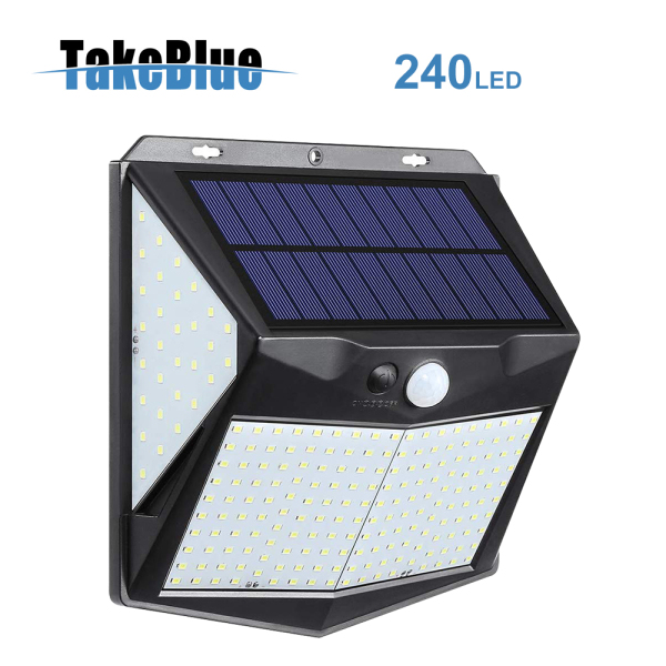 TakeBlue Solar Led Outdoor Garden Light 240 Led Wide Angle Motion Sensor 4 Sided Luminous 3 Modes Waterproof Solar Panel