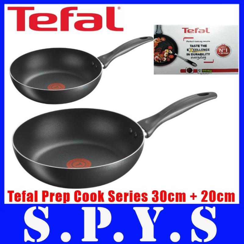 Tefal Prep Cook Non Stick Cookware. 3 Pcs Set - 30 cm Pan + 20cm Pan + Wooden Spatula. No LEAD Content. Local SG Seller. Super Fast Delivery. 1 Year Warranty. Singapore