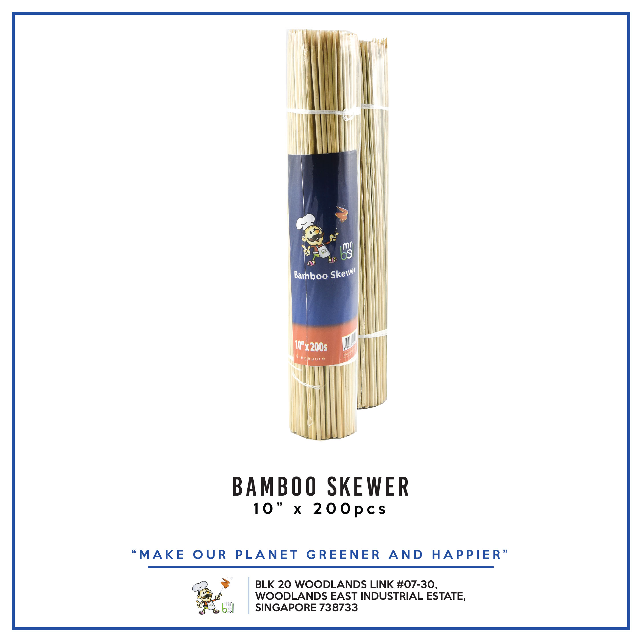 Bamboo Skewer 10  x 200s per pack - 1 Carton (24packs)