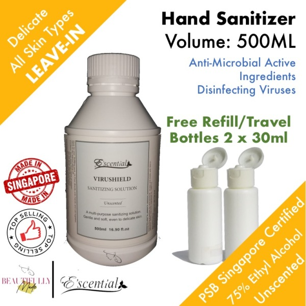Buy [MADE IN SG] Escential VIRUShield Hand Sanitizer 500ml - Anti Virus Bacteria • 75% Ethyl Alcohol Hand Rub • Fragrance Free • Non Sticky Delicate Skin Gentle & Soft • No Rinse No Need To Wash Hand Sanitiser Singapore