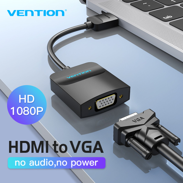 Vention HDMI to VGA Converter 1080P Digital to Analog HDMI To VGA Adapter With Power Supply Port and Audio Port For Laptop Computer Xbox PS4 TV Projector Video Audio Cable HDMI To VGA Adaptor