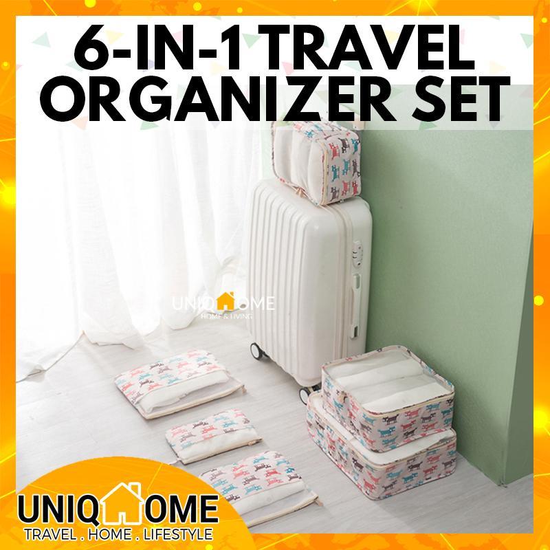 UniqHome Travel Organizer 6 Pieces Foldable Washable Luggage Set Organizer Travel bag Luggage Organiser Foldable bag Packing Bag Travel Organiser