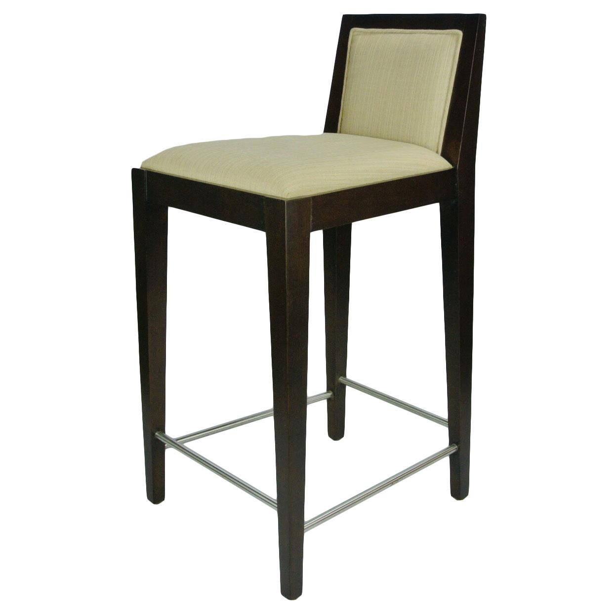 Solid Wood Bar Stool, Fabric Upholstery (Brand New)