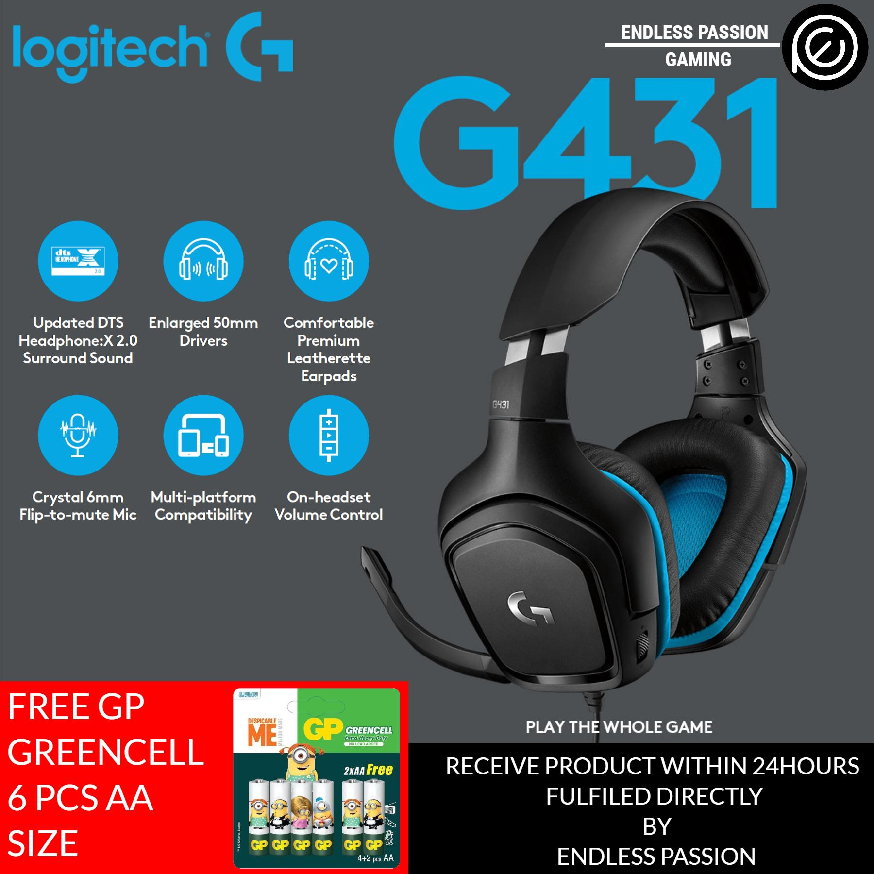 Logitech G431 7.1 Surround Sound Wired Gaming Headset (Leatherette) - PC, PS4, Xbox One, Nintendo Switch