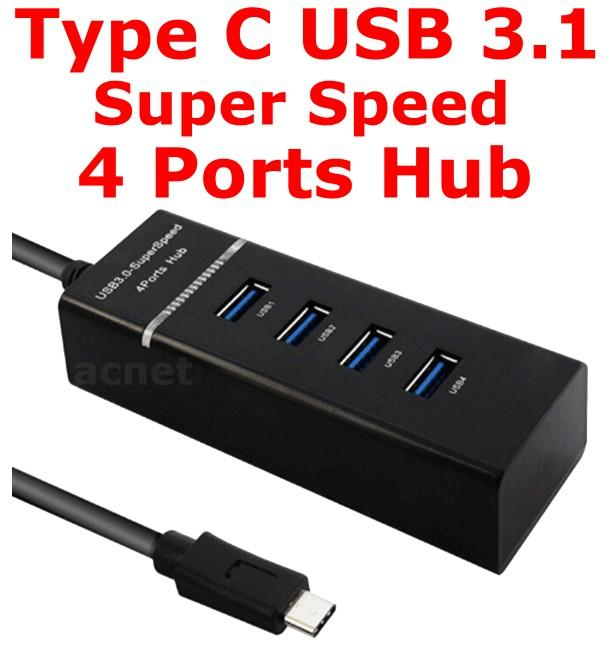 Type C USB 3.1 Super Speed 4 Ports HUB Expansion Adapter 1T