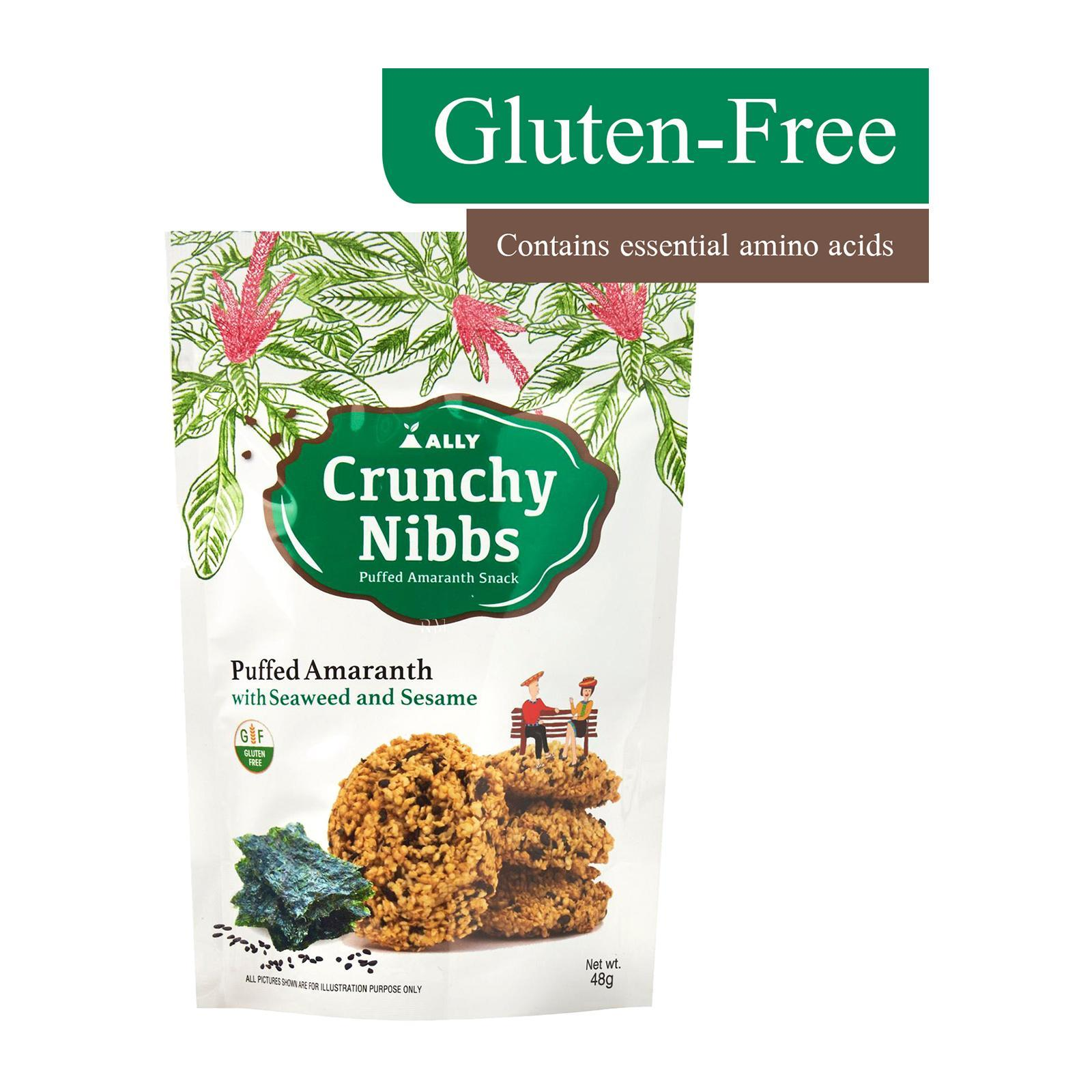 Crunchy Nibbs Puffed Amaranth Snack Seaweed And Sesame - by Optimo Foods