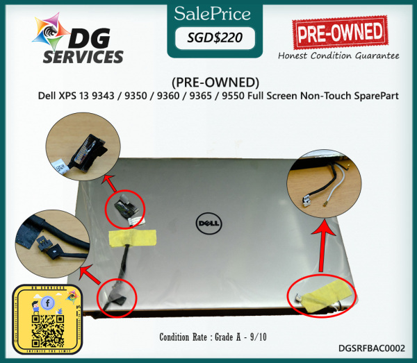 PRE-OWNED - Dell XPS 13 9343 9350 9360 9365 9550 Full Screen Non-Touch SparePart