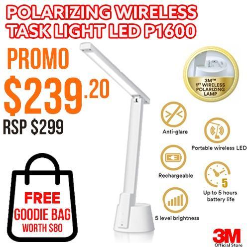 3M LED P1600 Polarizing Wireless Task Light  - White