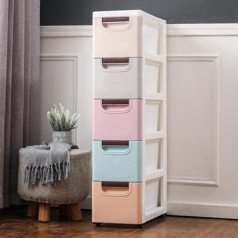 20/25/37cm Wide Storage Cabinets Drawer-type Toilet Plastic Storage Cabinet Sub-Narrow Kitchen Shelves