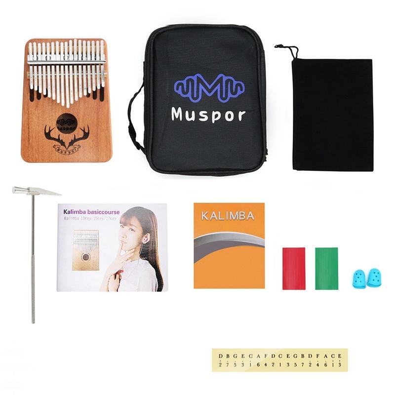 MUSPOR 17 Keys Kalimba Thumb Piano Mahogany Finger Musical Instrument with Learning Book Tune Hammer Malaysia
