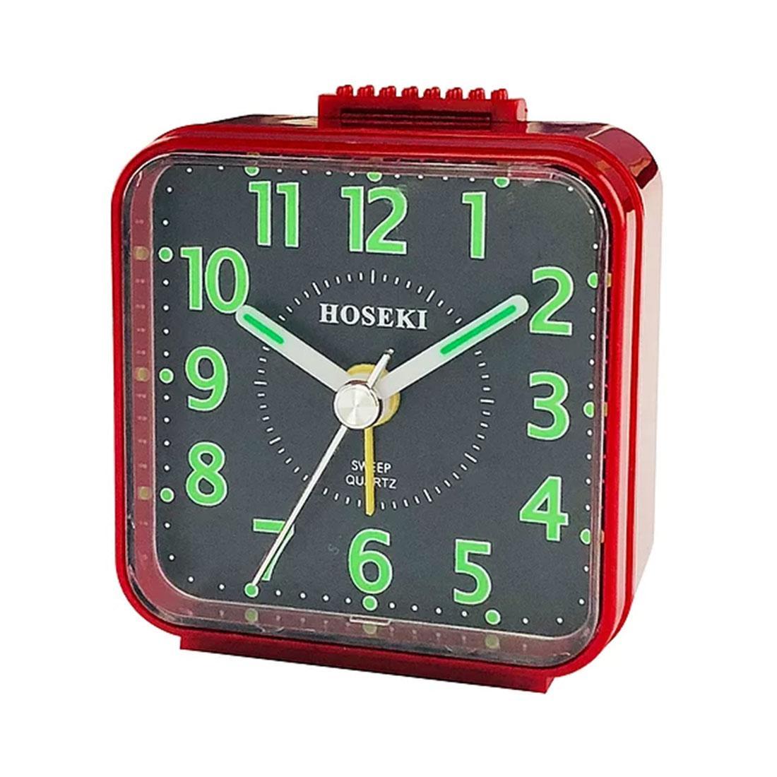 Hoseki Sweep Quartz H-9064R/BK H-9064 Red Black Square Analog Beep Alarm Clock