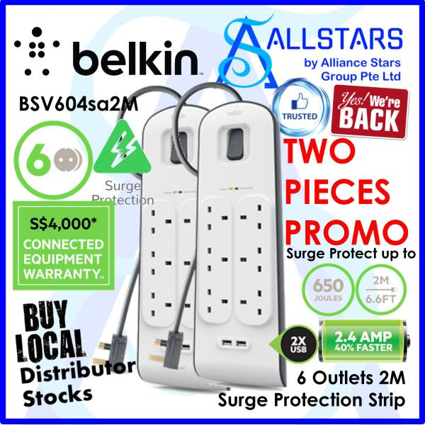 (ALLSTARS : We Are Back Promo) *TWO UNITS PROMOTION* BELKIN BSV604 / BSV604SA2M 6 Outlets 2M Surge Protection Strip with 2 USB Ports Charging / 2.4A / Surge / Spike Protection / Protect your equipment (Warranty 2years with BanLeong)