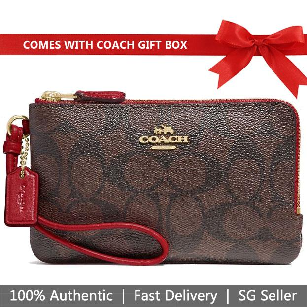 Coach Double Corner Zip Wallet In Signature Coated Canvas Wristlet Brown / Ruby Red # F87591