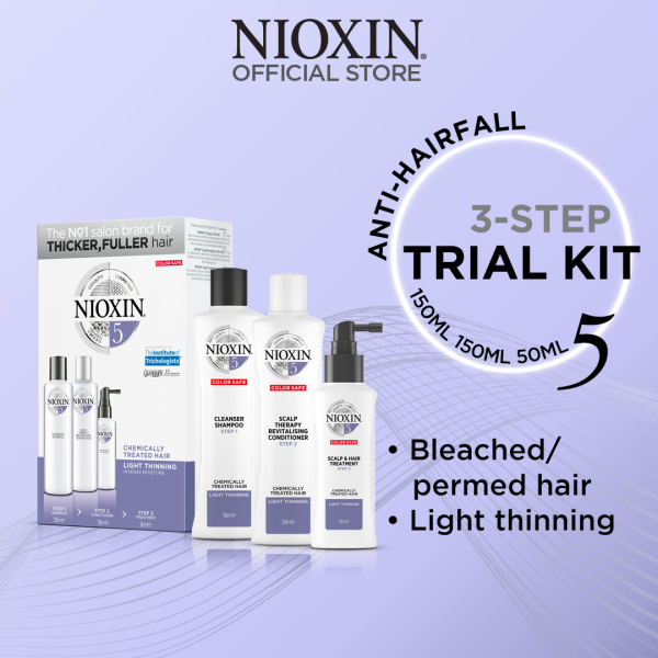 Buy NIOXIN Trial Kit For Bleached or Permed Hair & Light Thinning - Anti-Hairloss Shampoo, Conditioner & Scalp Treatment [System 5] Singapore