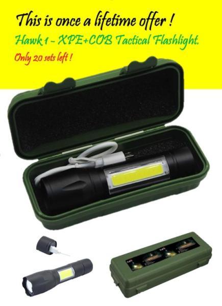 Hawk 1, The Best Mini XPE+COB Tactical Flashlight
