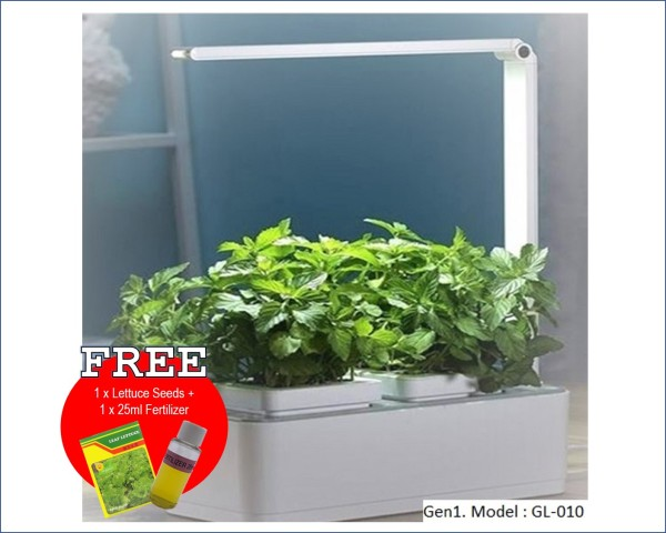Indoor Smart Garden with LED Grow Lights and self-watering system. Grow your own vegetable at the comfort of your home. Excellent education kit for urban children. Complimentary seeds and fertilizer to start growing.