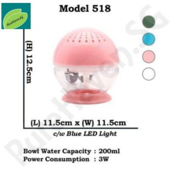 [BNIB] GOOD FOR CAR! Model 518 Mini Water Air Purifier! With Blue LED Lights. 200ml Singapore