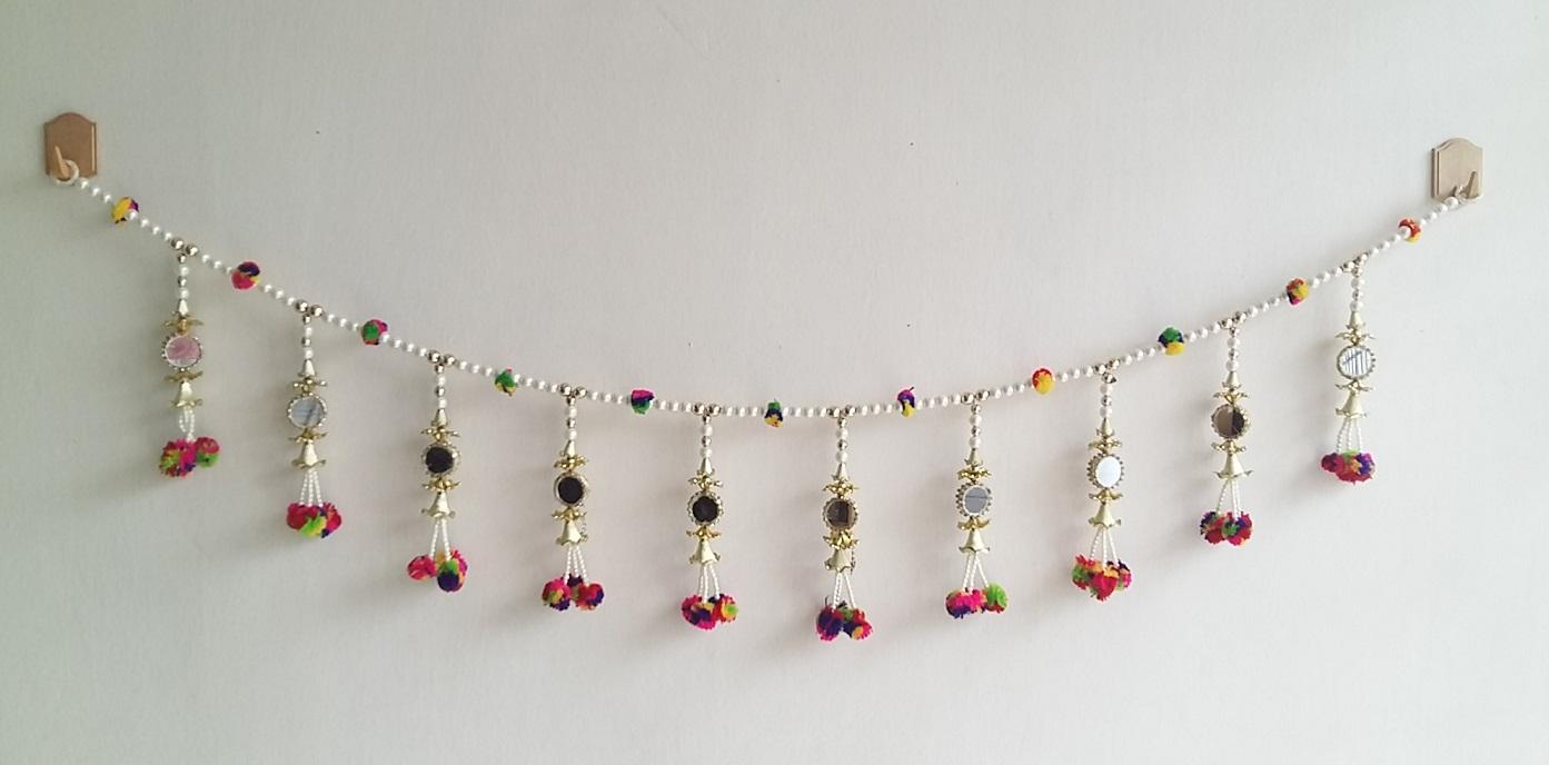 Door Hanging Toran Indian Decorative Hanging With Chain Of Pearls, Multi Colored Flowers
