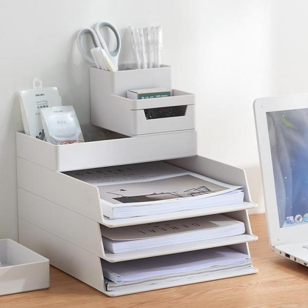 Five-layer file box storage box office supplies A4 paper desk multi-layer stackable drawer finishing storage box gray