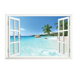 Price A Decor 3D Beach Window View Vinyl Wall Sticker On Singapore