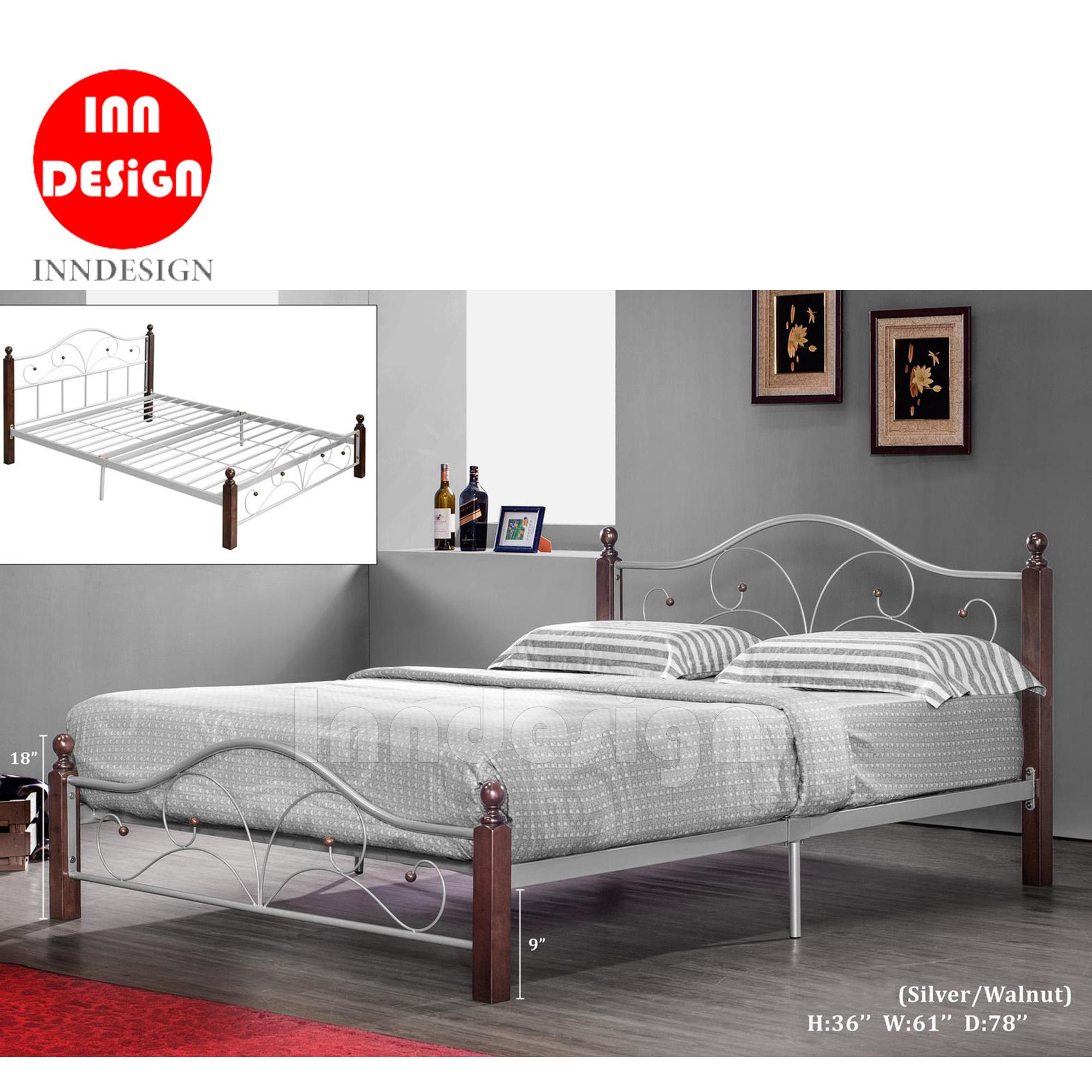 Queen Metal Bed / Metal Bed Frame (Silver + Walnut)
