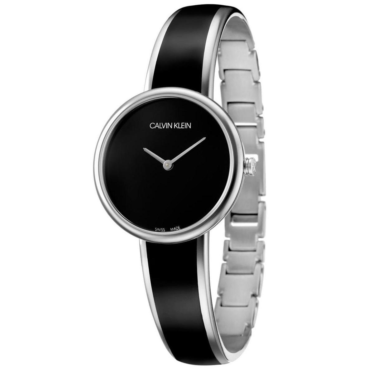 6542d77a7e Calvin Klein Seduce Quartz Black 30mm Dial Metal Bracelet with Black resin  Women's Watch K4E2N111