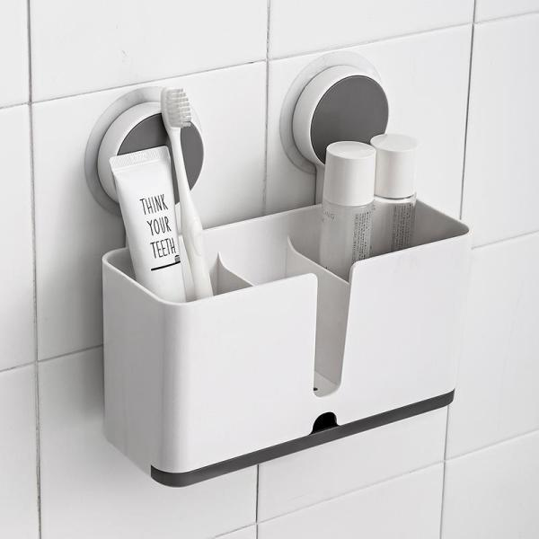 Multifunctional Bathroom Accessories Storage Holder with Stick-On, Plastic Storage with Drainer for Toothbrush/Toothpaste